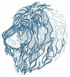 Severe lion embroidery design