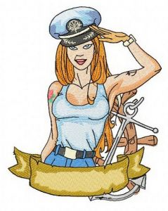 Sexy girl ship captain 2 embroidery design