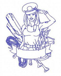 Sexy girl ship captain 3 embroidery design