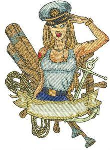 Sexy girl ship captain embroidery design