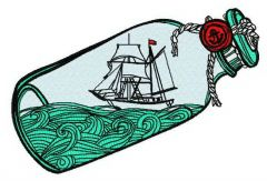 Ship in the bottle 2 embroidery design