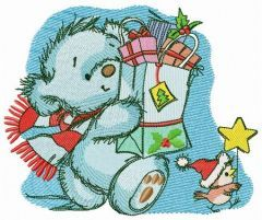 Shopping before Christmas embroidery design
