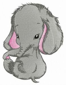 Shy elephant embroidery design