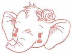 Shy elephant muzzle embroidery design