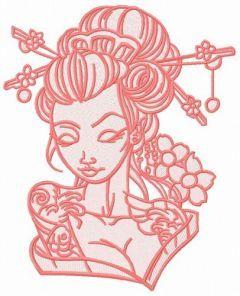 Shy geisha 6 embroidery design