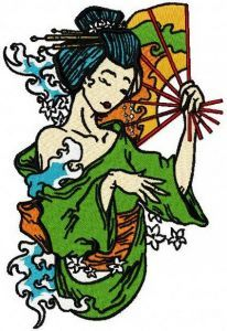 Shy geisha embroidery design