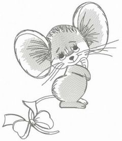 Shy mousekin embroidery design