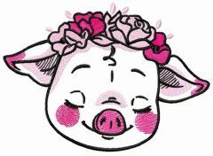 Shy piggy embroidery design