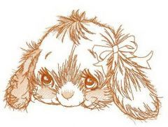 Shy rabbit muzzle embroidery design