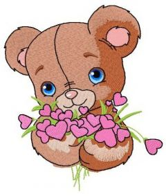 Shy teddy bear 3 embroidery design