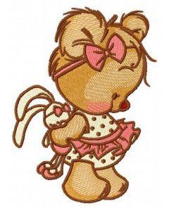 Shy teddy bear 6 embroidery design