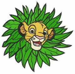 Simba in leaf collar embroidery design