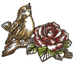Singing sparrow embroidery design