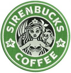 Sirenbucks coffee embroidery design