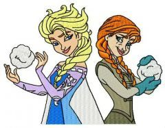Sisters playing snowballs embroidery design