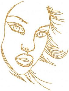 Sketch female face embroidery design
