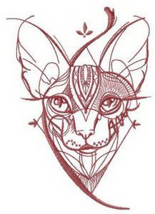 Sketch of Sphynx cat embroidery design