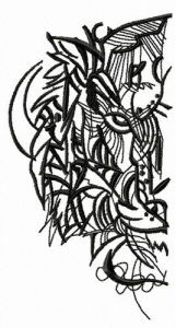 Sketch of tiger's head embroidery design