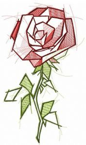 Sketchy rose embroidery design