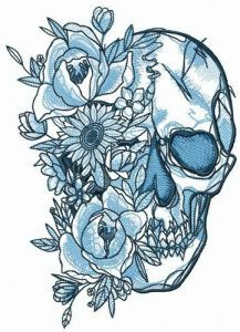 Skull among flowers embroidery design