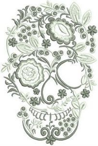 Skull from flowers and berries embroidery design