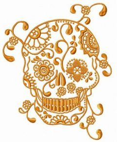 Skull with spring pattern embroidery design