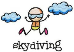 Skydiving embroidery design