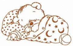 Sleeping bear embroidery design