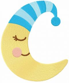 Sleeping crescent embroidery design