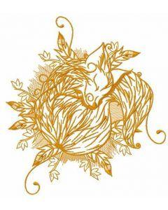 Sleeping fox embroidery design 2