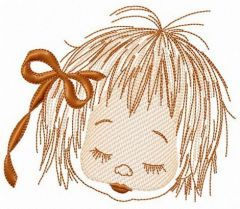 Sleeping girl's face embroidery design