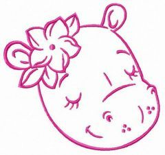 Sleeping hippo embroidery design