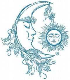 Sleeping moon and sun embroidery design