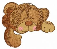 Sleeping teddy bear toy embroidery design
