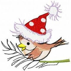 Small Christmas bird with hat embroidery design