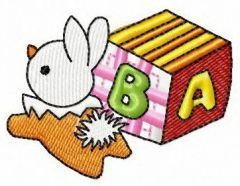 Small cube and bunny toy embroidery design
