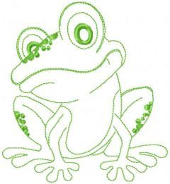 Small cute frog embroidery design