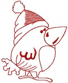 Funny Christmas bird embroidery design