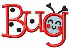 Smile bug embroidery design