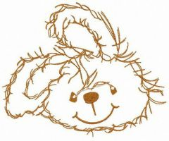Smiling bunny embroidery design