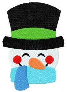 Smiling snowman embroidery design