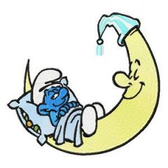 Smurf Sleeping on the Moon embroidery design