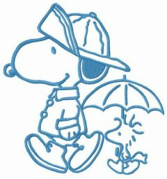 Snoopy and Woodstock like rainy weather embroidery design