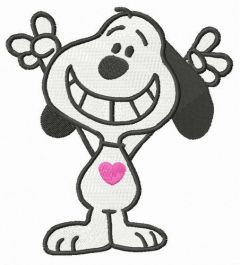 Snoopy cheers embroidery design