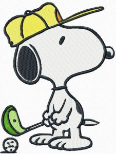 Snoopy golf embroidery design