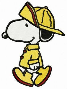 Snoopy in raincoat embroidery design
