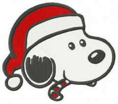 Snoopy likes candy cane embroidery design