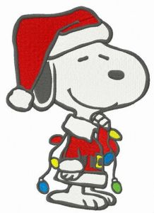 Snoopy with garland embroidery design