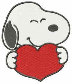 Snoopy with heart embroidery design 2