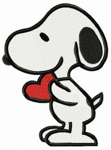 Snoopy with Valentina card embroidery design